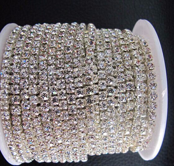 SS6 crystal rhinestone + silver chain for wedding dress by China post air mail from shipping 10 yards each lot wholesale