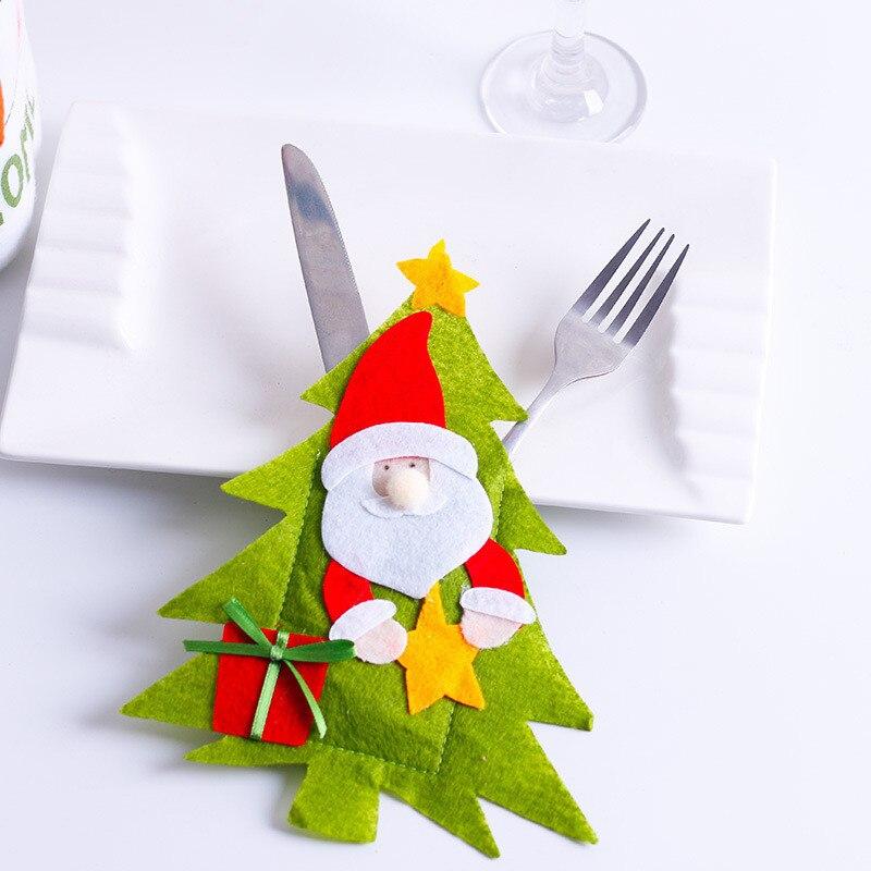 Шляпа Санты, олень, Рождество, Год, карманная вилка, нож, столовые приборы, держатель, сумка для дома, вечерние украшения стола, ужина, столовые приборы 62253 - Цвет: B