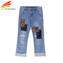 DFRCAEG 26-32 Plus Size Denim Pants Jeans Woman Vintage Blue Hole Stright Nine Trousers With Patchwork High Waist Jeans