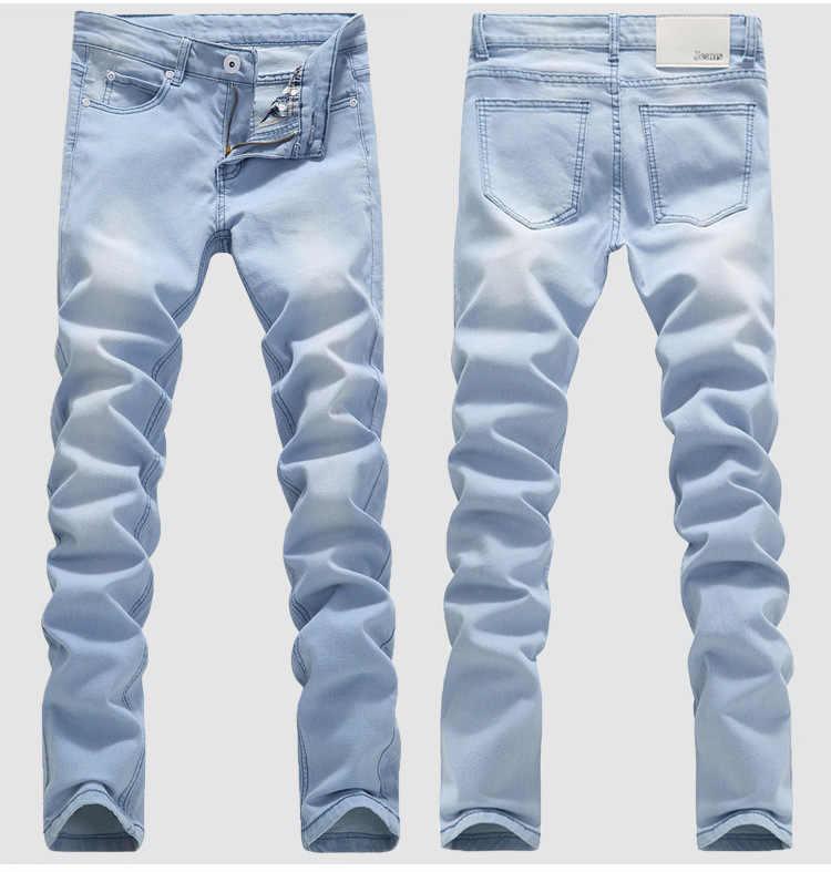 Blauw Skinny Jeans Mannen Lente Zomer Stretch Slim Jean Broek Hoge Kwaliteit Mannen Katoen Casual Denim Jeans Lange Jean Broek maat 36