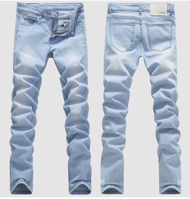 Blue Skinny Jeans Men Spring Summer Stretch Slim Jean Pants High Quality Men Cotton Casual Denim Jeans Long Jean Pants Size 36