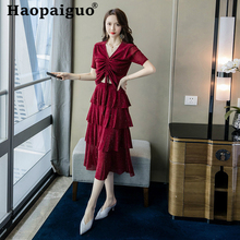 2019 Summer Korean Style Two Pieces Set Short Sleeve Sexy Blouse and Midi Wrap Black Dress Women 2 Party Suit