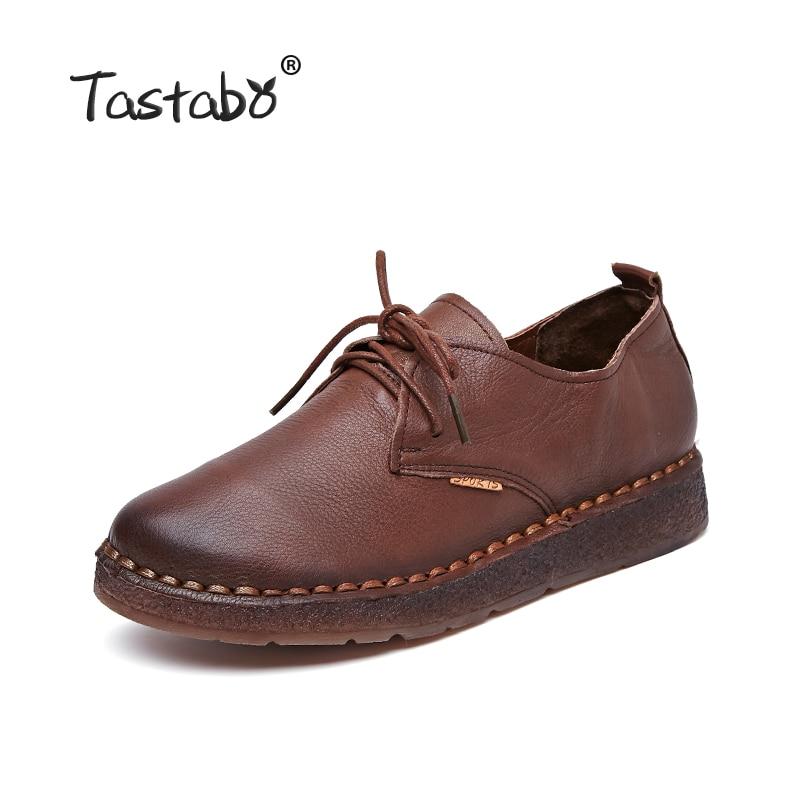 tastabo новый ручной работы 2017 лоферы женская обувь повседневное рабочая обувь для вождения женские туфли-лодочки настоящая кожа плоским плюс размеры