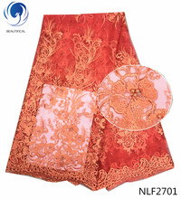 Beautifical African lace fabrics coral red tulle fabric with beads/stones 2018 New arriavl nigerian net 5yards NLF27