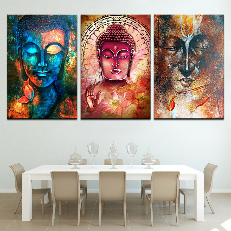 Modern Buddha 3 Piece Canvas Wall Art 3 Panel Poster and Print Canvas Painting Picture for Living Room Home Decor
