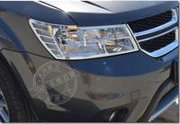 ABS chrome Front Headlight Lamp frame trim cover exterior mouding Car Accessories for dodge journey JCUV 2013 2012 2009