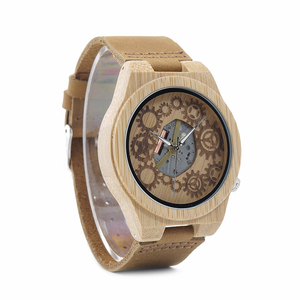 Image 4 - ボボ鳥 WB09 露出運動デザイン竹木のクォーツ腕時計リアルレザーストラップスケルトン腕時計木製ギフトボックス oem