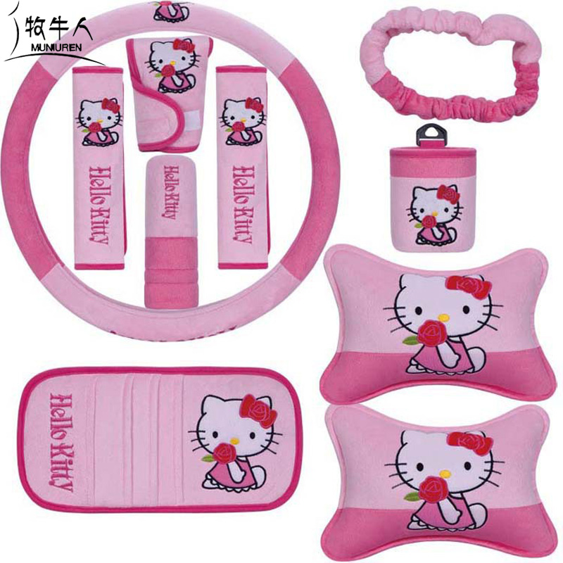 10pcs / set Cute Cartoon Kitty Car Seat Interior Accessories Plush Universal Steering Wheel Cover Seat Belt Cover for Women