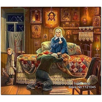 Diy 5D Diamond Painting Cross Stitch Religious Pray Diamond Embroidery Mosaic Rhinestone Wall Stickers Home Decoration