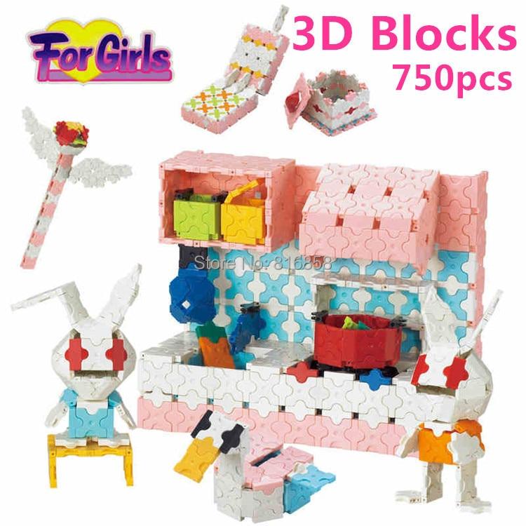 LaQ Style Magic 3D Blocks Pink Kitchen Building Blocks DIY Learning Educational Toys Girls Gift brinquedos