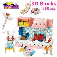 Laq stil magic 3d blocks rosa küche bausteine diy lernen lernspielzeug mädchen geschenk brinquedos