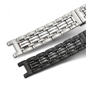 Image 4 - New Arrival 316L Stainless Steel Watchband Concave Mouth 22*13mm 20*11mm Silver Black Bracelet with Butterfly Clasp For GC Watch