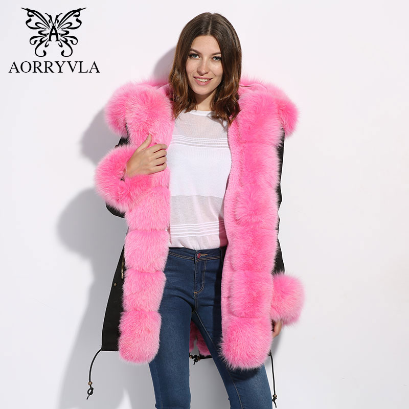 AORRYVLA Fashion Real Fur Parka For Women Winter 2017 Natural Fox Fur Collar Hooded With Faux Rabbit Fur Lined Long Length Coat 2017 winter new clothes to overcome the coat of women in the long reed rabbit hair fur fur coat fox raccoon fur collar