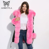 AORRYVLA Fashion Real Fur Parka For Women Winter 2017 Natural Fox Fur Collar Hooded With Faux