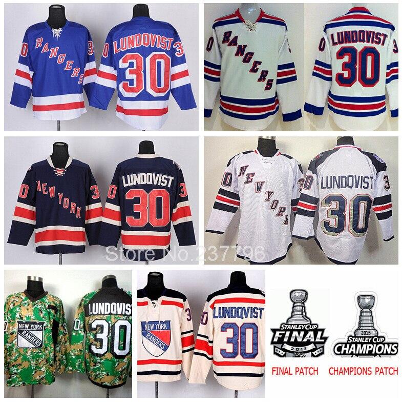 ff59ab06b ... New York Rangers Henrik Lundqvist Jersey 30 Ice Hockey Shirt Team Color  Blue Cream White 2015 ...