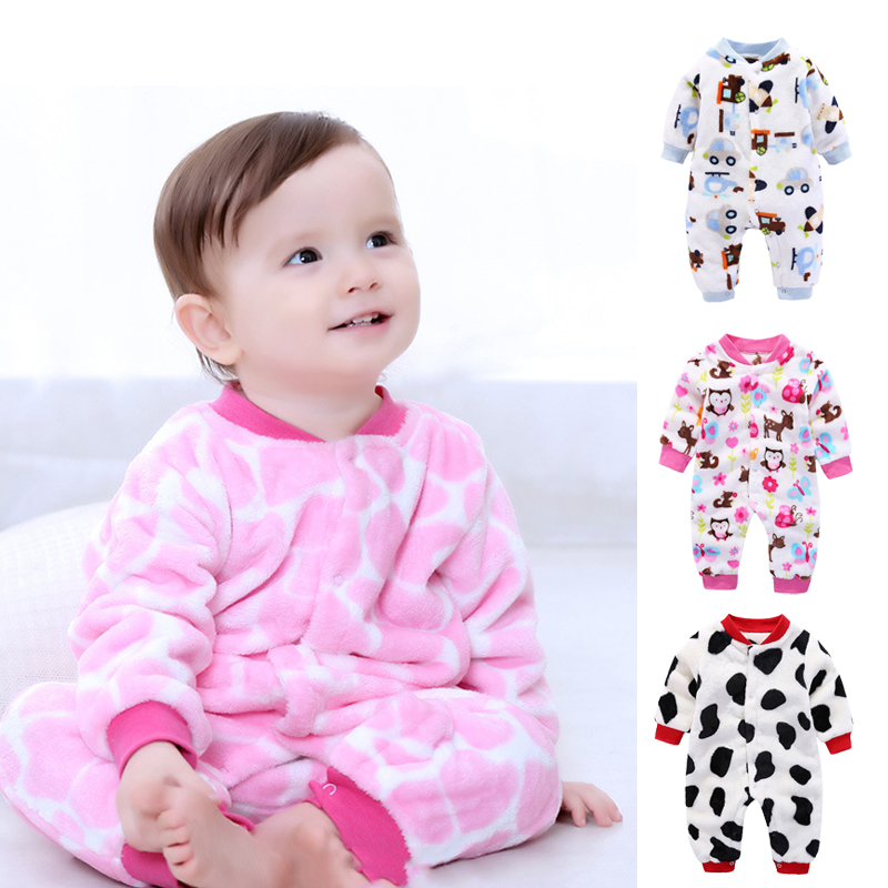 New Born Baby Spring-autumn Clothing Baby Boys Girls Long Sleeved Cartoon   Rompers   Winter Fleece Warm Climbing Jumpsuit Pajamas
