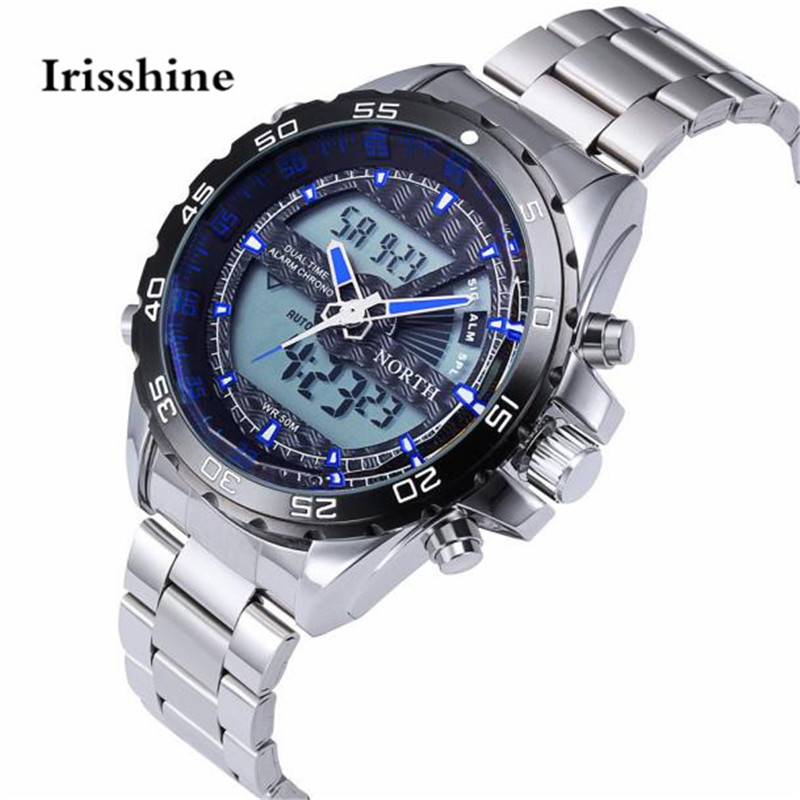 תנועה כפולה החדש Irisshine מותג יוקרה גברים שעונים מתנות צמיד נירוסטה Mens קוורץ שעון יד שעונים לא