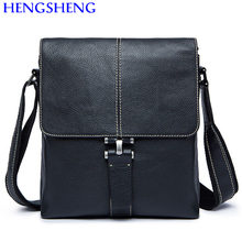 Hengsheng promotion cow leather men shoulder bags for fashion men genuine leather messenger bag with solid soft shoulder bags