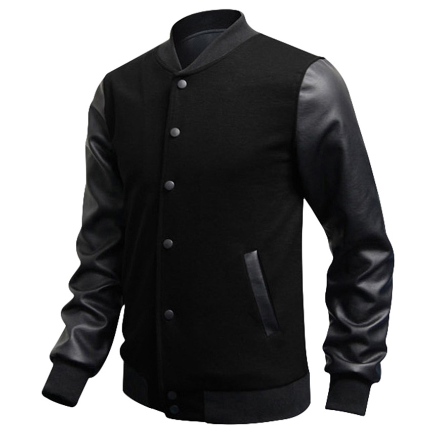 veste homme autumn slim fit fashion casual mens coat baseball jackets pu leather sleeve jacket. Black Bedroom Furniture Sets. Home Design Ideas