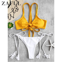 1fa6f82cd3 ZAFUL Fringe Tassel Bikini Set Black White Stripe Bikini Strappy Swimsuit  Retro Swimwear Women Bathing Suit