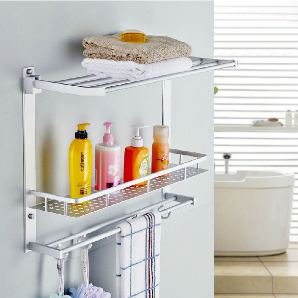 Bathroom shelves two layer bathroom rack space aluminum for Bathroom accessories stand