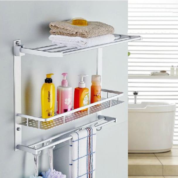 Bathroom shelves two layer bathroom rack space aluminum for Bathroom accessories shampoo holder