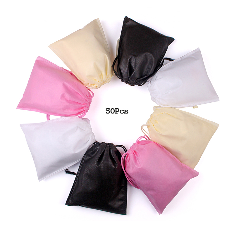 50Pcs/lot 16x20 20x28 25x30 25x36cm High Quality Non-woven Fabric Bags Drawstring Bag Packaging Organizer Gift Bag Custom LOGO