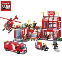 Enlighten City Fire Station Rescue Control toys fit legoings city fireman figures police model Building Blocks bricks gift kid