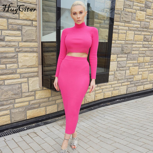 Hugcitar high neck long sleeve crop tops skirt 2 two pieces set 2019 autumn winter women fashion streetwear solid tracksuits 1