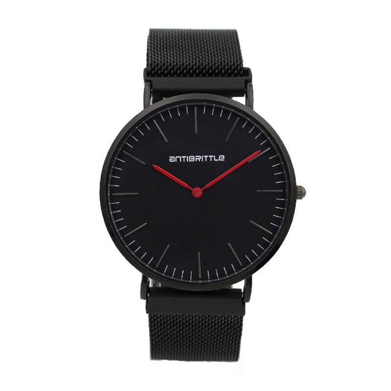 Japan Quartz Luxe Heren Horloges Dames Dun leer Zwart Roestvrij Staal - Herenhorloges