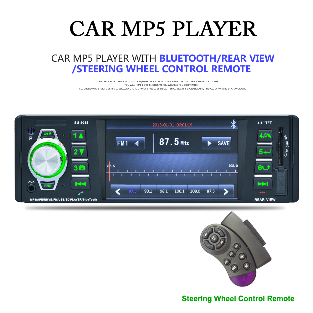 4 1 Inch 1 Din Car Video MP5 Player Car Multimidia Radio Bluetooth HD LCD Display