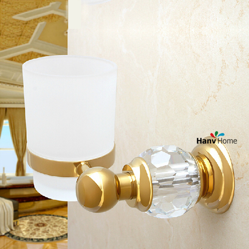 Golden crystal brass glass bathroom accessories gold for Gold glass bathroom accessories