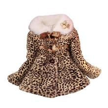 Fashion Baby Girls Coat Leopard Faux Fur Collar Girls Winter Jackets And Coats Baby Jacket Children Outerwear Girl Clothing