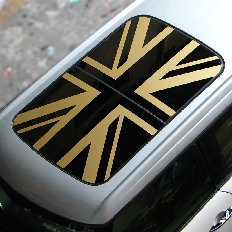 Union Jack Car Sunroof Roof Sticker for Mini Cooper One Countryman Clubman F54 F55 F56 F60 R55 R56 R60 R61 Styling 1pair union jack car side door skirt decal sticker decor for mini cooper f54 f55 f56 f60 r55 r56 r60 r61 car styling accessories