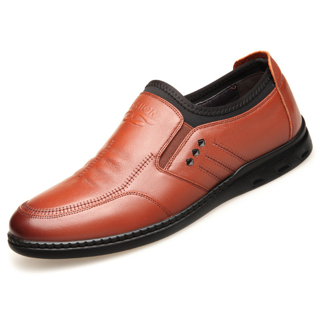 3179 New Casual Men's Shoes Single with Elastic Opening Genuine Leather Shoes Designer Leather Casual Shoes