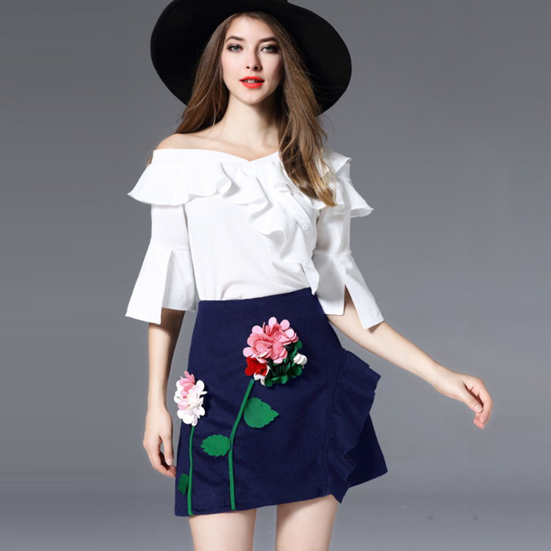 Fashion 2 Piece Set Women Suits Summer White Ruffle Short Sleeve Blouse + Pencil Flower  ...