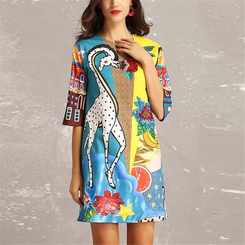 fbaec87423cbbd3 2019 новая весна Высокое качество взлетно-посадочной полосы дизайнерские  платья для женщин Великолепная печати бисером