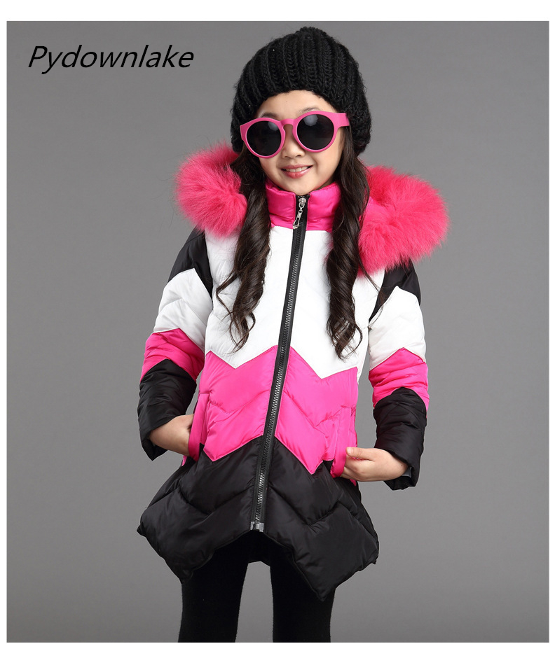 Girls Winter Coat Down Jacket for Girl Faux Fur Collar Hooded Baby Outwear Long Children's Winter Jacket Girl Suit Kid Parka 2017new down parka winter jacket women cotton padded thick ultra light long coat faux fur collar hooded female jackets for woman page 1