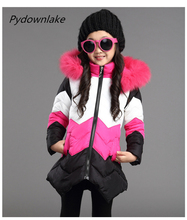 Girls Winter Coat Down Jacket for Girl Faux Fur Collar Hooded Baby Outwear Long Children's Winter Jacket Girl Ski Suit Kid Parka blue flower girl faux fur cape child kid winter jacket hooded wrap bolero with hand muff evening prom coat outwear cloaks