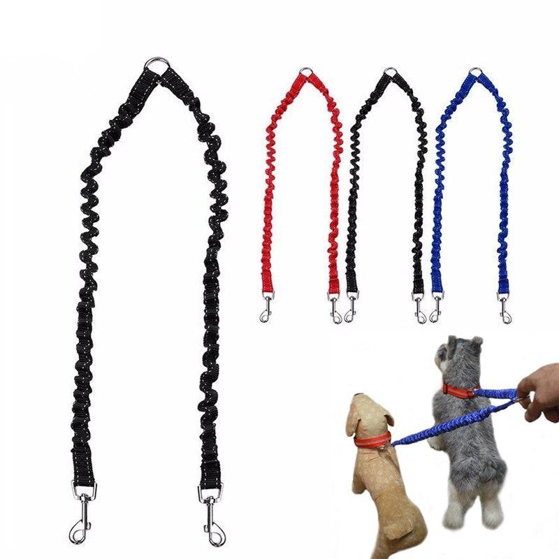 N23 Brand new Pet Dog buffer Double leash headed pet tow rope Dog Coupler Twin Lead 2 Way Pet Leash Dogs Walking Splitter Safety