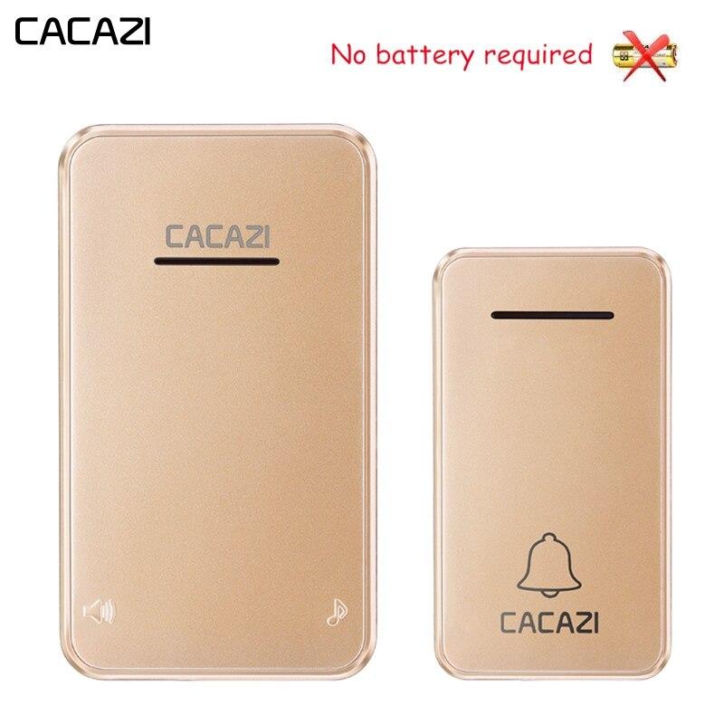 CACAZI Sans Fil Sonnette Étanche Auto-alimenté Pas de batterie Led lumière Sans Fil Sonnette US EU Plug Carillon 1 2 Bouton 1 2 récepteur