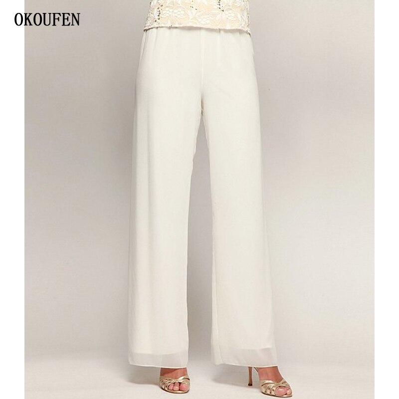 Plus Size Big Ivory Size Wide Leg Long Pants Mother Of The Bride Pants For Wedding 2019 Chiffon Madrinha Formal Women Long Pants