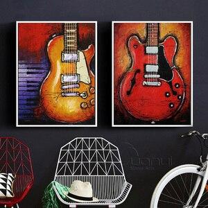 4 Panel Abstrakte Gitarre Leinwand Drucke Wand Kunst Ölgemälde Musik Instrument Kunst Malerei Wand Dekor Bilder Für Wohnzimmer