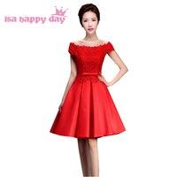 High fashion red boat neck sexy phụ nữ thanh lịch satin đảng thời gian formals dress ren lên trở lại ngắn prom sweet 16 dresses H3714