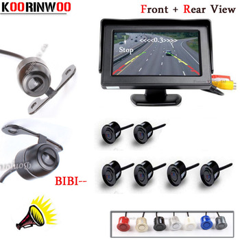 KOORINWOO 4.3 inch Car Monitor Reverse Radar Monitor System 6 Alarm Sensor Vehicle Front Camera Rear view Camera Parking System