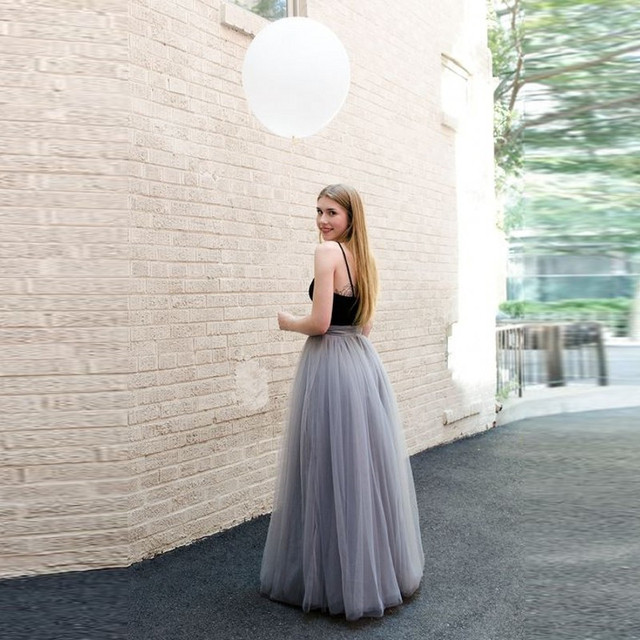 7a87cfc4 Gray Layers Long Tulle Skirt Empire Waist TuTu Floor Length Thick Maxi Skirt  With Lining Europe Style Fashion Adults Skirts