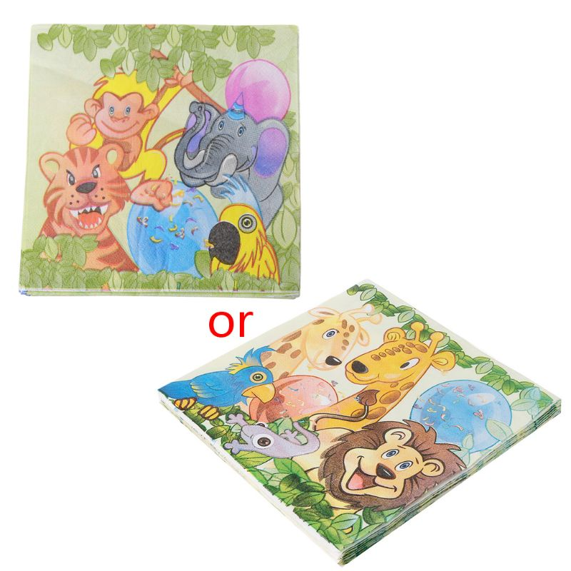 20pcs /Pack King Lion Jungle Animal Design Cute ThemeTissue Napkins For Children Birthday Party Decoration Paper Placemat