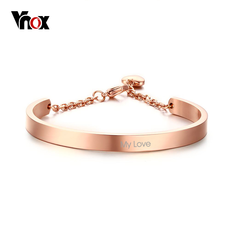 Vnox Personalized Info Women Cuff Bracelets & Bangles Heart Charm Bracelet for Women Classic Custom Name Jewelry Rose Gold Color