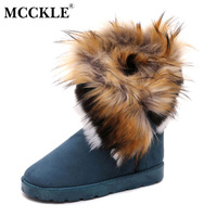 MCCKLE Women Suede Sewing Platform Slip On Mid Calf Snow Boots Female Solid Fur Warm Flat