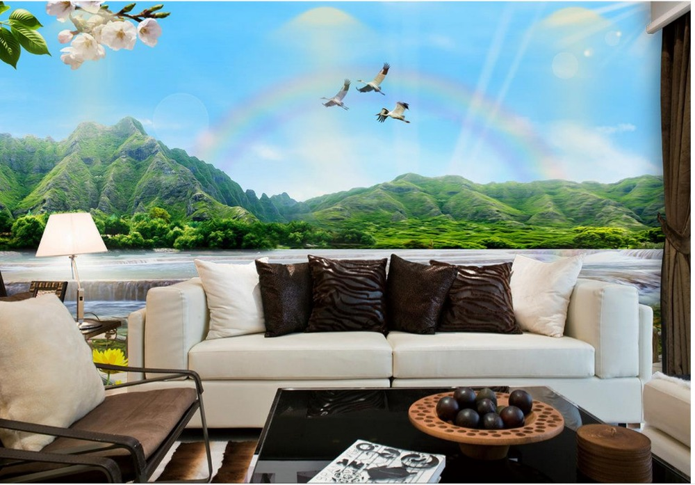 Buy custom 3d photo wallpaper lakeside for 3d wallpaper home decoration